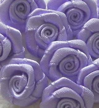 10 Mini-roses en satin  GRAND modèle LILAS