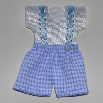 Mini-ensemble short vichy bleu & T shirt blanc