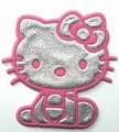 Ecusson Hello Kitty en tissu couleur rose