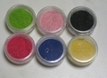 6 potjes fluweel poeder (flocking powder)  set A