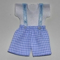 Mini-set blauwe pastel shorts & T shirt wit